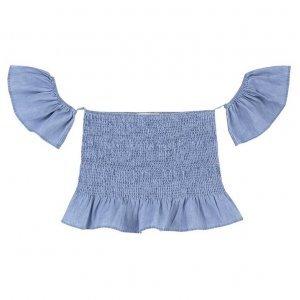 Blusa Cropped Jeans Com Corpo Em Fio Elástico