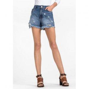 Shorts Jeans Em Algodão Na Base Pin Up Com Destroyed