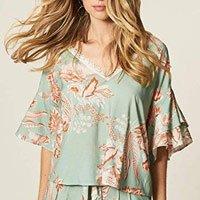 Blusa Estampa Floral Bicolor Com Renda
