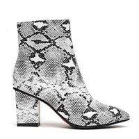 wetkiss Plus Size Fashion Women Ankle Bootie Snake Print Sexy Boots Winter Thick high Heels Women Shoes