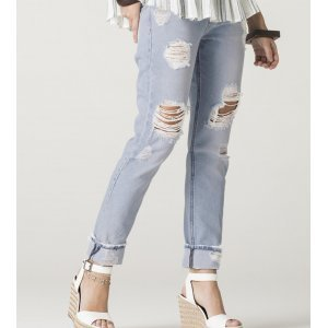 Calça Feminina Jeans Mom Destroyed Bonjour