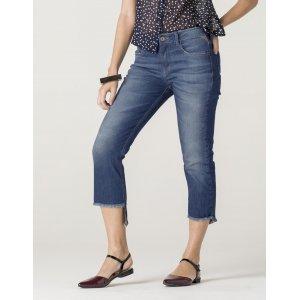 Calça Jeans Feminina Barra Degrau Desfiada