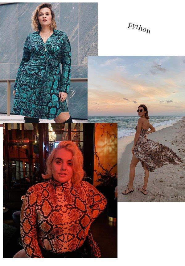 Charlotte Kuhrt, Felicity Hayward e Jelena Cikoja - python - python - verão - street style 2019