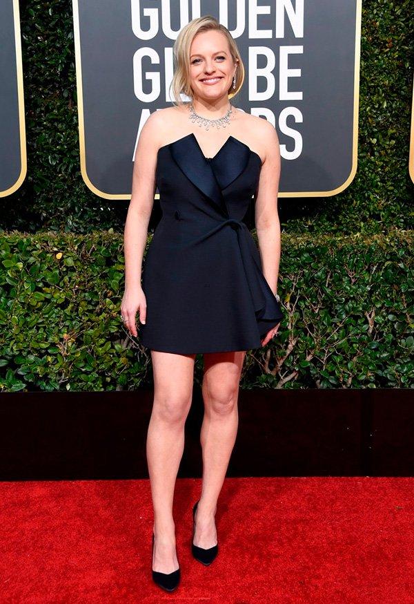 Elisabeth Moss - vestido - golden - globes - 2019