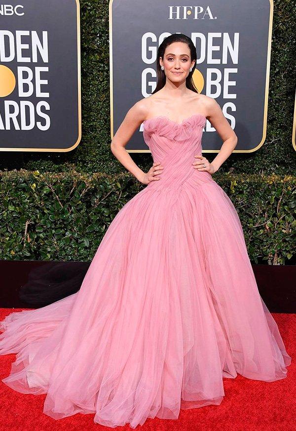 Emmy Rossum - golden - globes - vestido - 2019