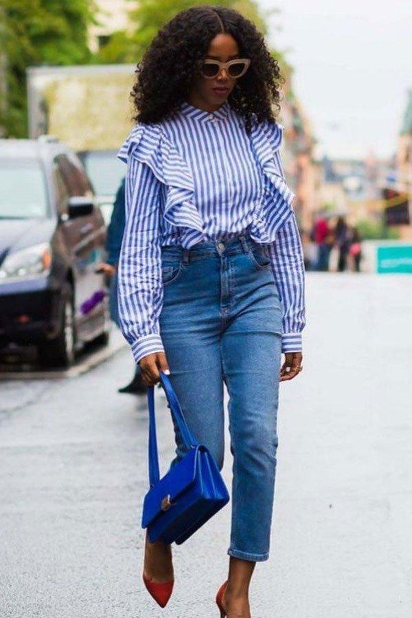 reprodução pinterest - Camisa e calça jeans - jeans no office look - verão - street style