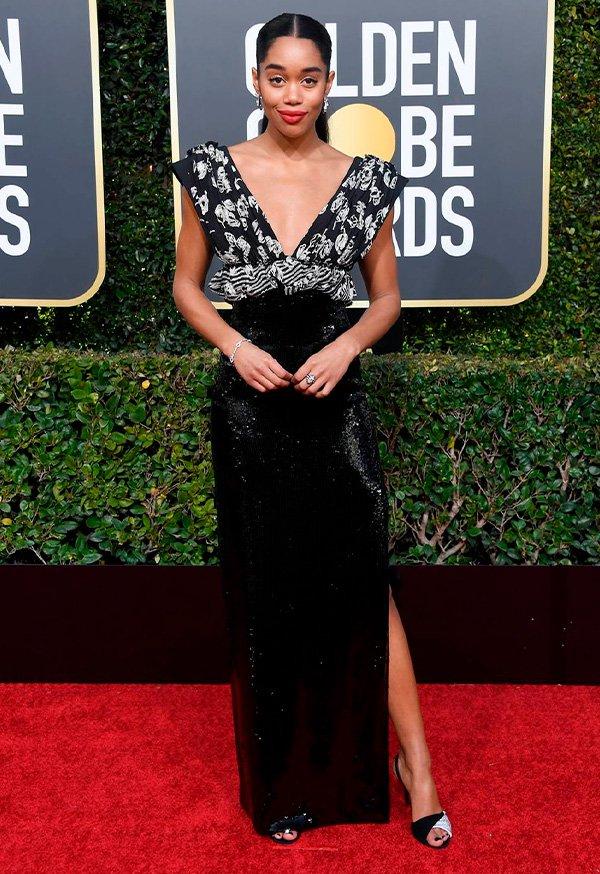Laura Harrier - vestido - golden - globes - look