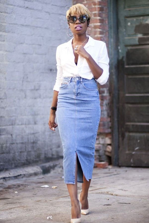 Miss Enocha - saia jeans midi - jeans no office look - verão - street style