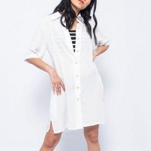 Vestido Botões Branco Tamanho: M - Cor: Branco