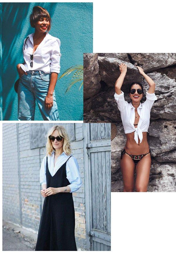 Lari Cunegundes, Camila Coelho - camisa branca - peças clássicas - meia-estação - street style