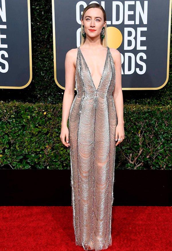 Saoirse Ronan wearing Gucci - vestido - golden - globes - 2019