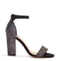 Sandália Salto Alto Preto em Glitter