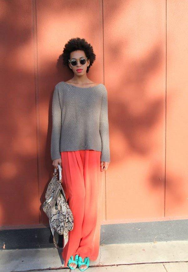 Solange Knowles - calça pantalona - living coral - meia-estação - street style
