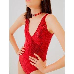 Body Liz Paetê Vermelho Tamanho: 36 - Cor: Vermelho