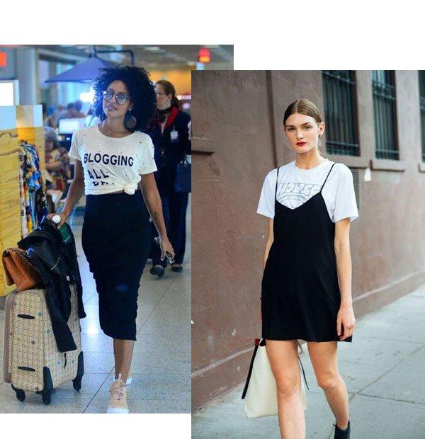 Sheron Menezzes - T-shirt com vestido - T-shirt - meia-estação - street style