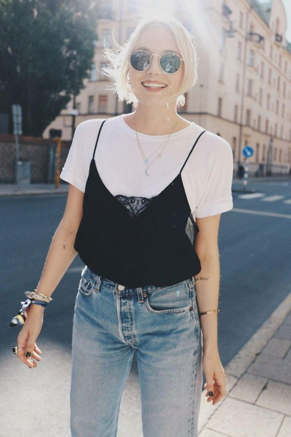 reprodução pinterest - T-shirt com regata - T-shirt - verão - street style