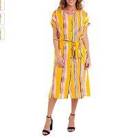 Vestido Kinara Listrado Viscose Faixa com Manga Amarelo