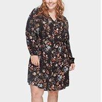 Vestido Floral com Amarração Plus Size