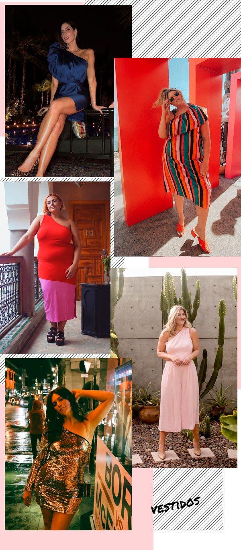 Ali Tate, Camila Coutinho, Ella Sisso, Felicity Hayward e Raeann Langas - vestido - ombro-só - verão - street style 2019
