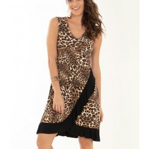 Vestido Quintess Animal Print E Preto