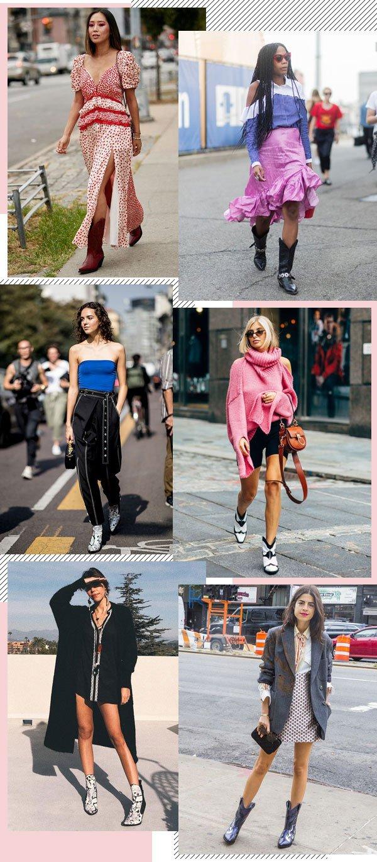 Aimee Song, Jan-Michael Quammie, Catharina Dieterich, Leandra Medine - vestidos, botas - Western boots - meia-estação - street style