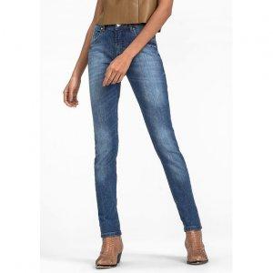 Calça Skinny Em Jeans De Algodão Com Cintura Média
