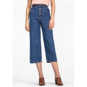 Calça Jeans Em Algodão Na Base Wide Leg Com Botões Frontais