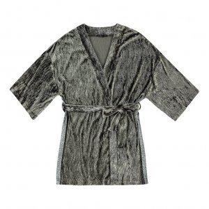 Kimono Em Malha De Veludo Molhado