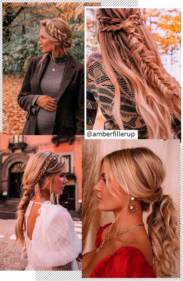 Amber Fillerup - cabelos - penteados/tranças - todas - Instagram