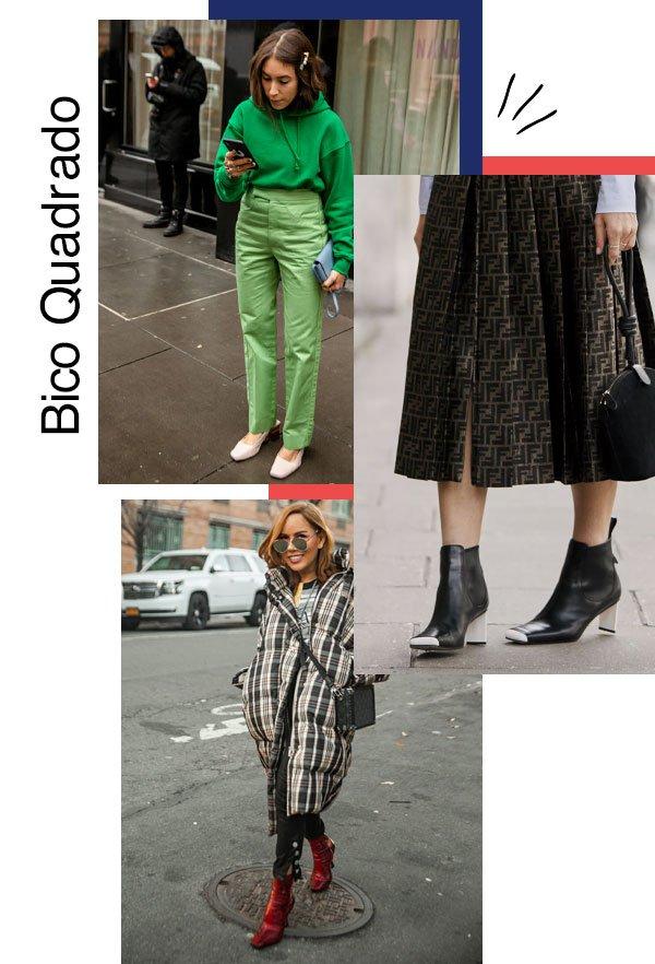 reprodução  - sapato - Bico quadrado - outono/INVERNO - NYFW