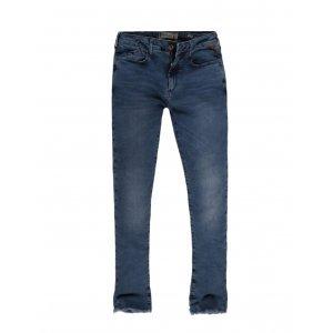 Calça Jeans Feminino Skinny Barra Desfiada