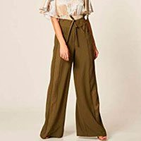 Calça Crepe Pantalona Recorte Tweed