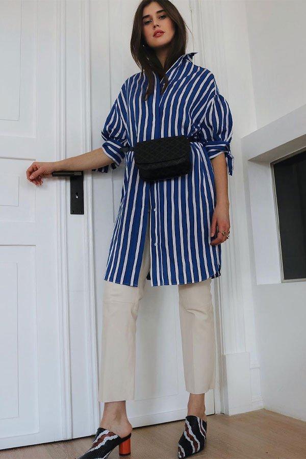 Darja Barannik - camisa longa e calça - camisas - meia-estação - street style