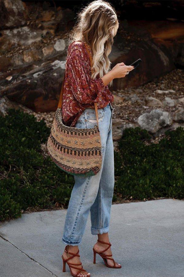 Elle Ferguson - calça e camisa - boho - meia-estação - street style