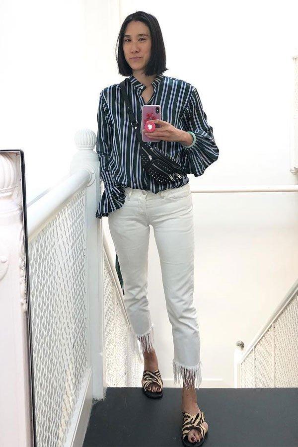 Eva Chen - camisa e calça - camisas - meia-estação - street style