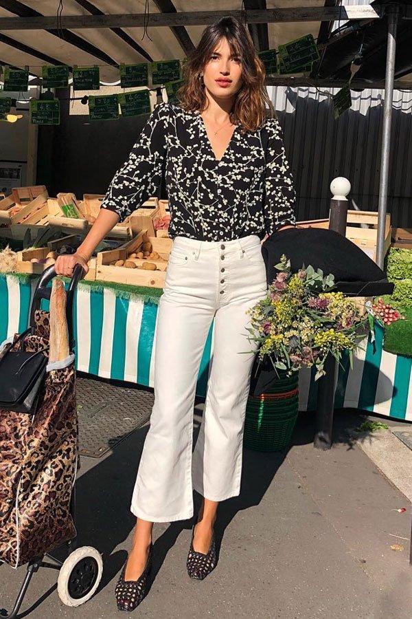 jeanne damas - camisa estampada e calça branca - camisas - meia-estação - street style