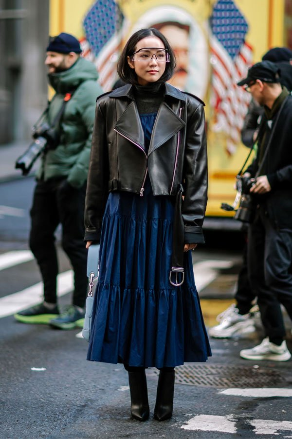 Jeremy Kang - vestido - jaqueta de couro - outono/INVERNO - street style