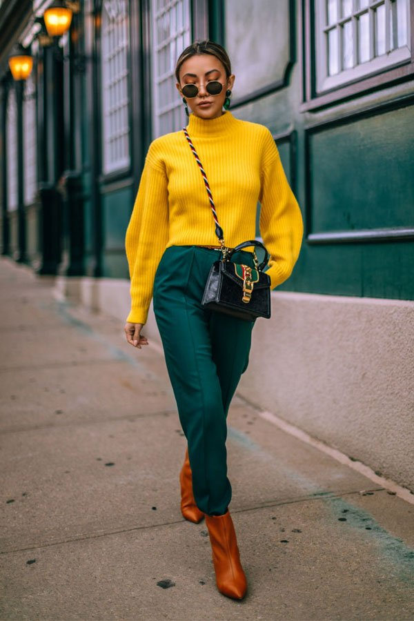 Jessica Wang - shirt, pants and boot - colorful - mid-season - street style