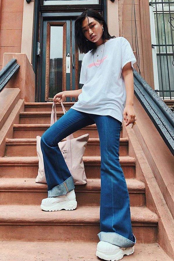 Kicki-Yang-Zhang - calça jeans - dad sneaker - outono/INVERNO - street style