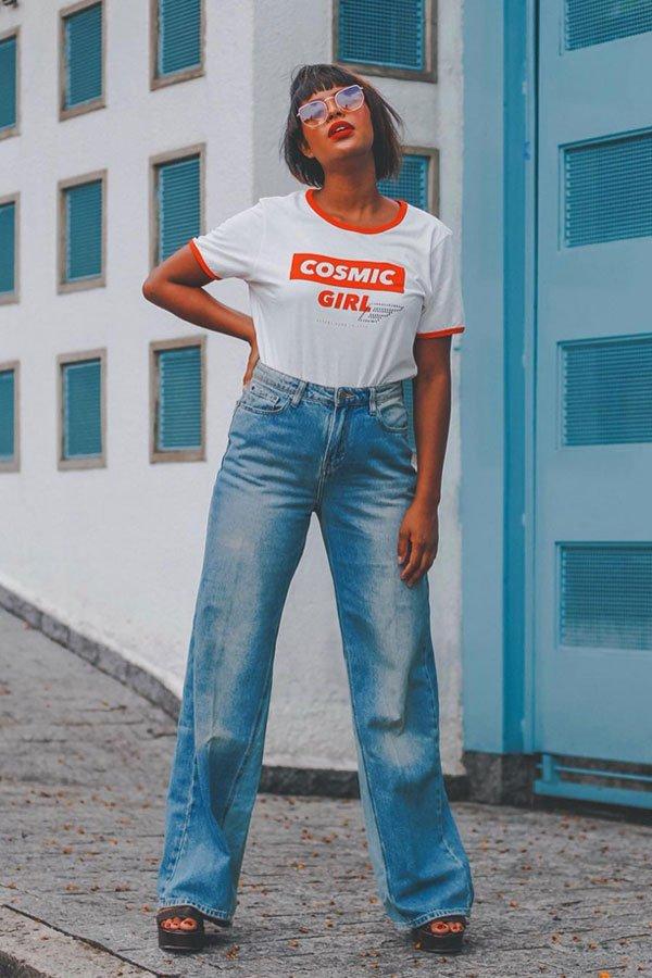 Lari Cunegundes - calça e camiseta - calça jeans - verão - street style