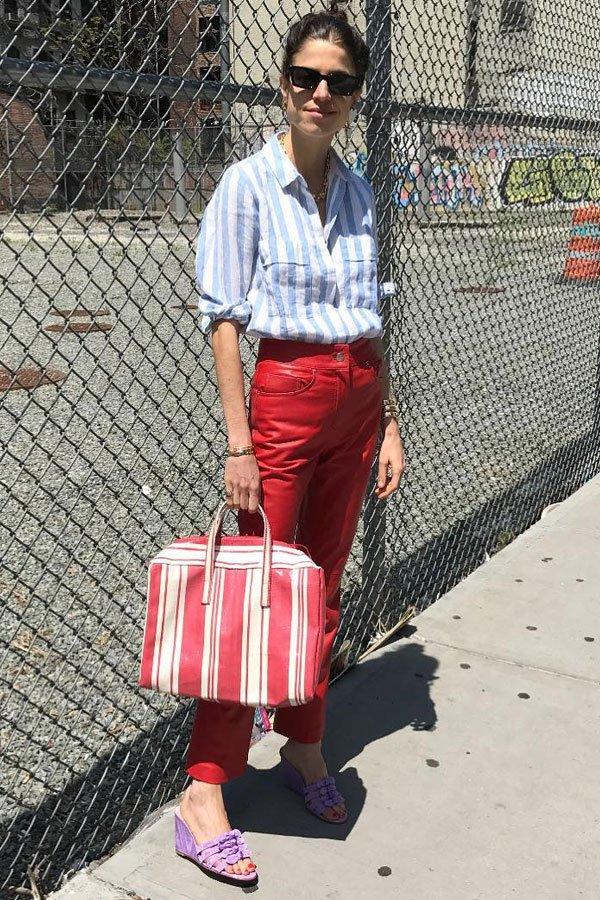Leandra Medine - camisa e calça - camisas - meia-estação - street style