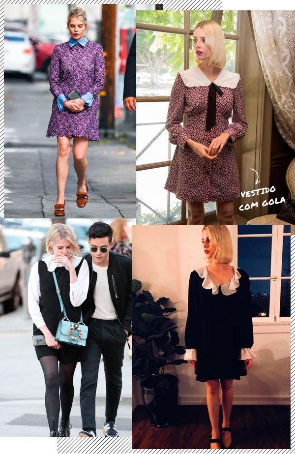 Lucy Boynton - vestido-gola - gola - inverno - street-style