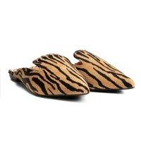 Mule Couro Santa Lolla Tigre Pelo Feminina - Preto e Bege