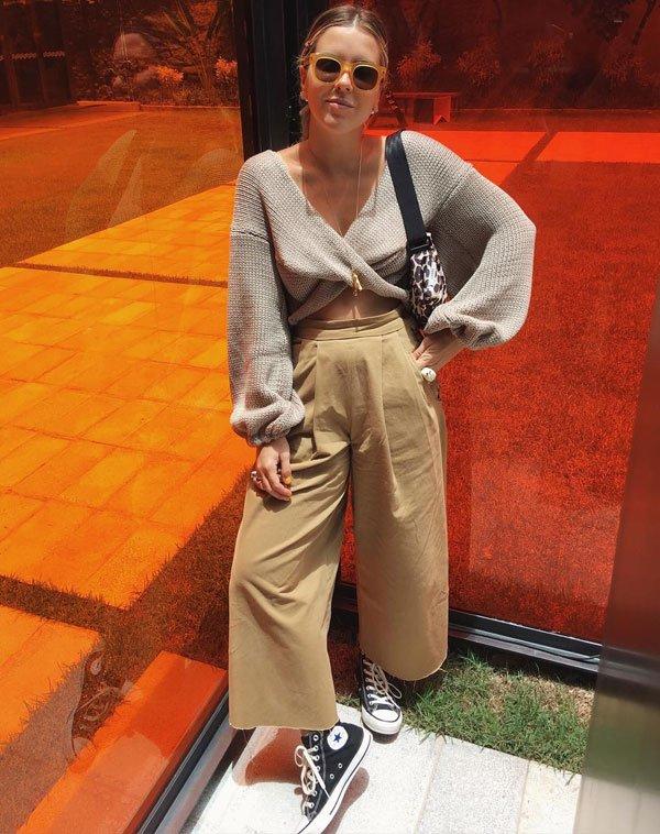 Nathalia Medeiros - tricot-manga-bufante-calça-pantacourt-all-star - All Star - meia estação - street style 2019