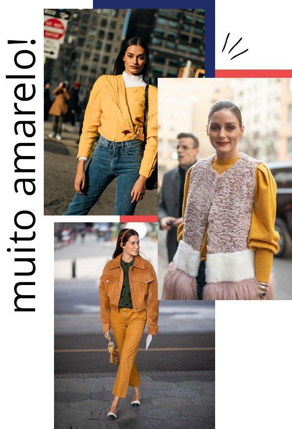 Gizele Oliveira, Olivia Palermo - amarelo - amarelo - inverno - street style 2019