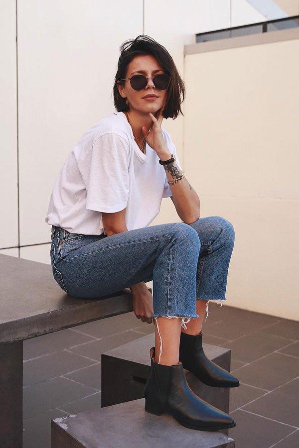 Petra - camiseta e calça - bota - meia-estação - street style