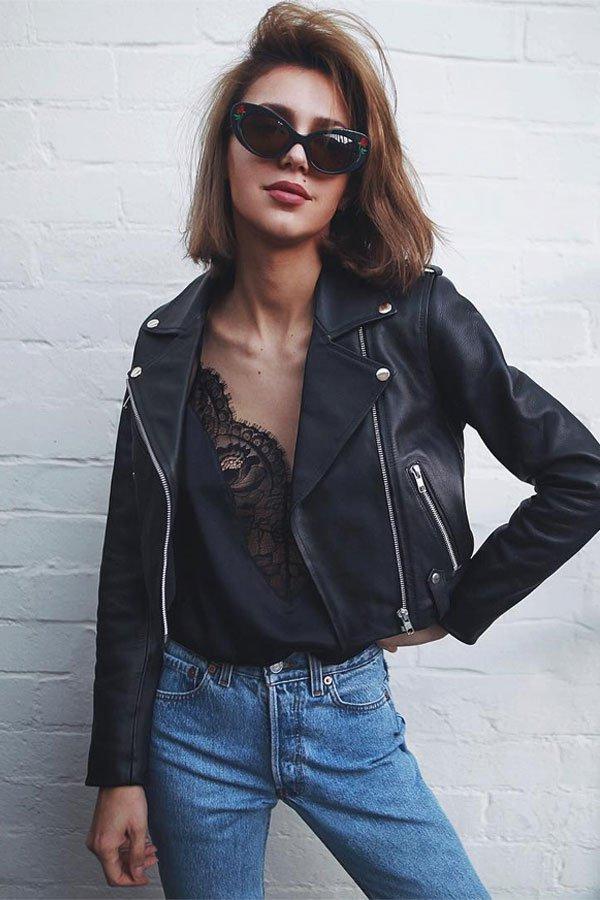 Petra - jaqueta de couro e regata - jaqueta de couro - verão - street style
