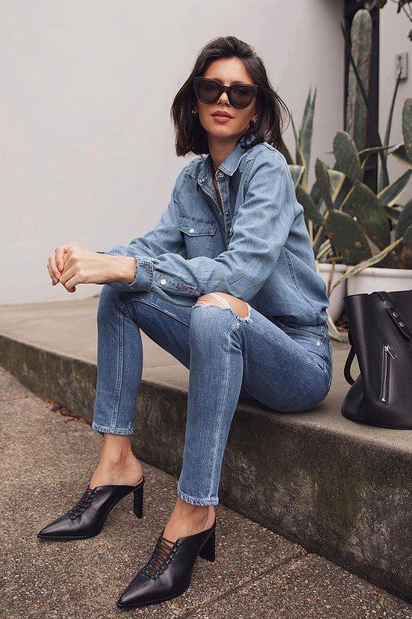 Petra - camisa e calça jeans - camisas - meia-estação - street style