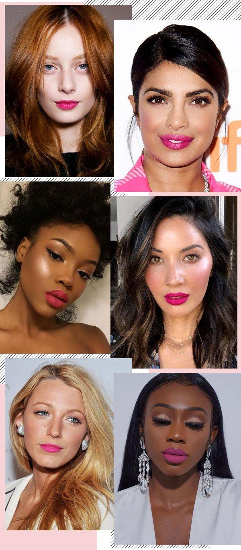 Thairine Garcia, Priyanka Chopra, Olivia Munn, Aaija Jackson,  Blake Lively e Vanessa Gyimah - batom - rosa choque - pink - lipstick