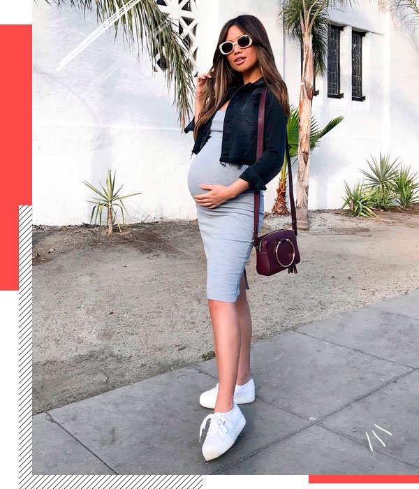 it-girl - gray-dress - pregnant - summer - street-style